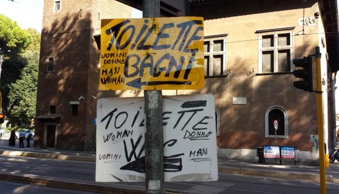 Indicazione bagno pubblico Trastevere Roma