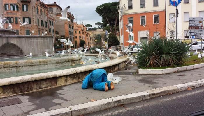 invasione gabbiani fontana eroi roma