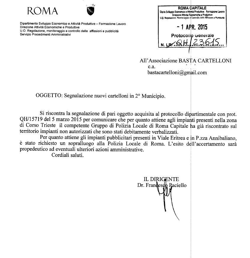 Risposta Segnalazione cartelloni Trieste apr 15