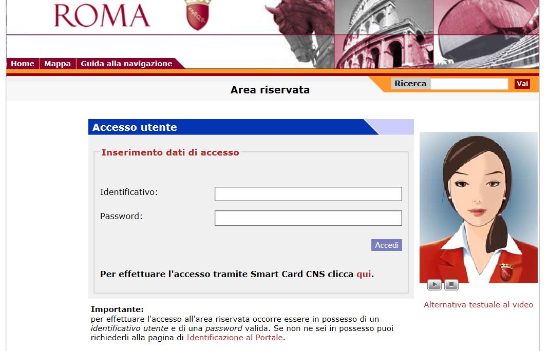 registrazione portale comune roma